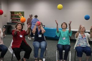 Playing with foam balls at the Gathering Place